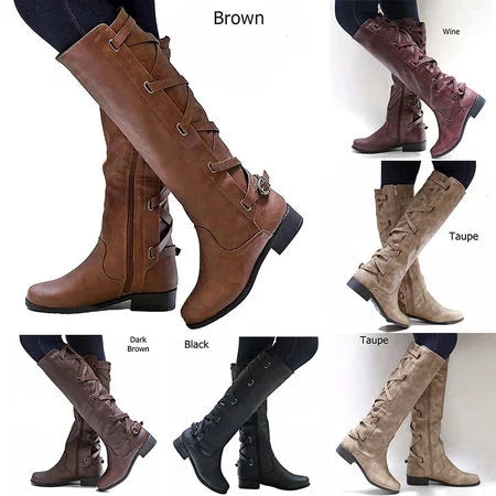 Chunky Heel Zipper Casual Winter Boots