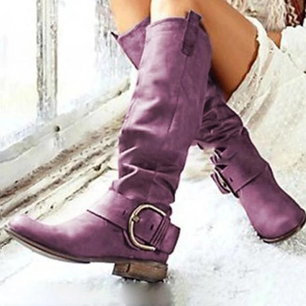 Flat Thick Heel Retro Casual Boots