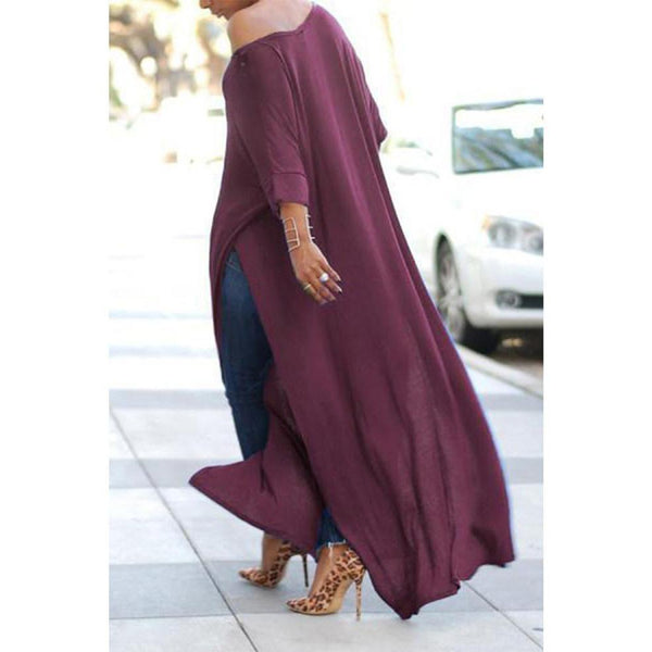 Scoop Neck Side Vented Plain T-Shirt Casual Maxi Blouse