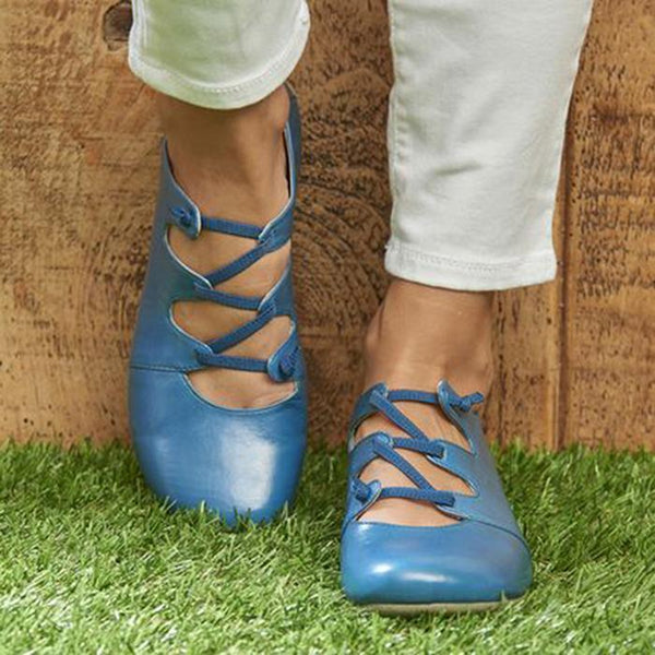 Women Casual Lace-up Summer Flats Sandals