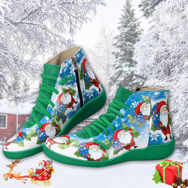 Christmas Round Toe Zipper Boots