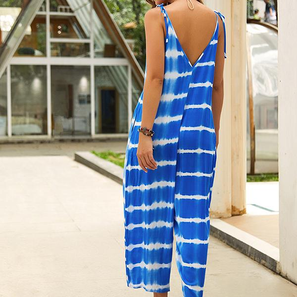 Printed V-Neck Strap Sleeveless Jumpsuit