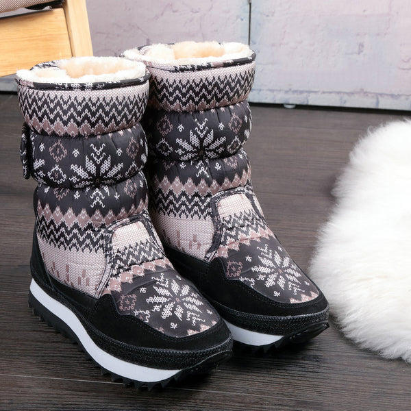 Winter Women Warm Plush Fur Snowflake Snow Boots