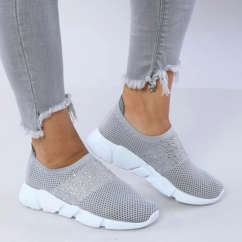 Bling Rhinestone Breathable Athletic Slip-on Sneakers Running Shoes