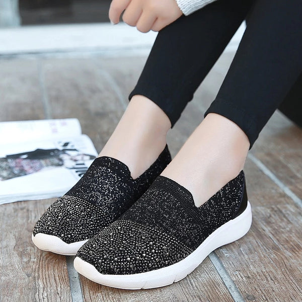 Rhinestone Breathable Fashion Sneakers Women Cloth Slip On Shoes
