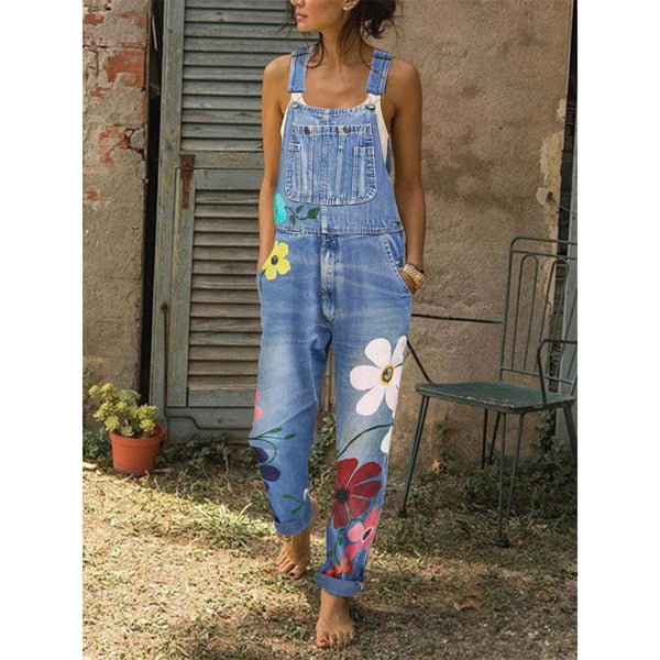 Uellos Sleeveless Denim Floral Floral-Print One-Pieces Jumpsuits