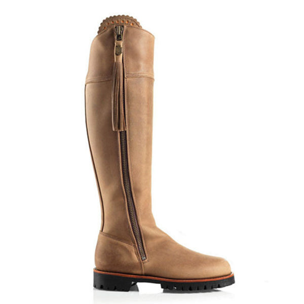 Zipper Long-calf Round Toe Boots