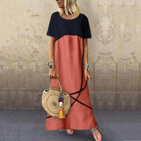 Loose  Women Fashion Solid Color  Round Neck Dress