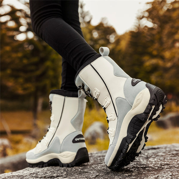 Women Waterproof Warm Lace-Up Winter Flat Heel Snow Boots