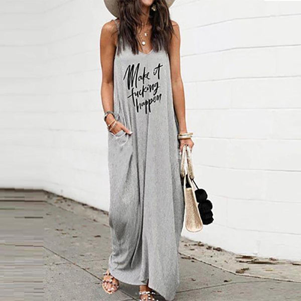 Casual Loose V Neck Ankle-Length Dress