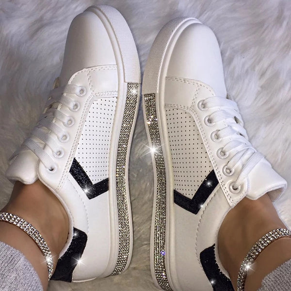 Uellos Women Fashion Round Toe Casual Sneakers