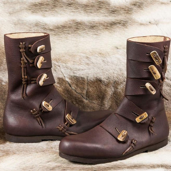 Medieval Viking Horns Buttons Boots