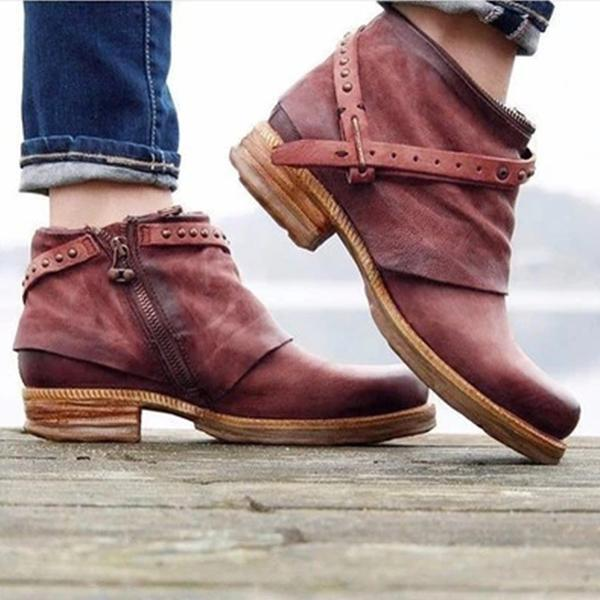 Side Zipper Buckle Daily Flat Heel Ankle Boots