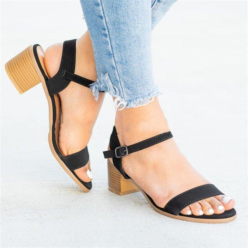 Open Toe Buckle Thick Heel Sandals