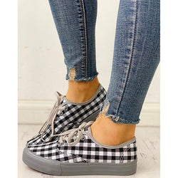 Women Plaid Insert Lace-Up Casual Sneakers