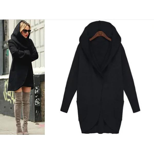 Winter Plus Szie Long Sleeve Fashion Loose Hooded Women's Coat