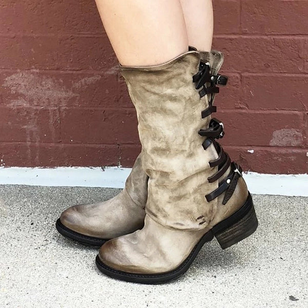 Low Heel Zipper Casual Boots