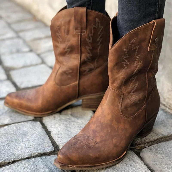 Women Mid-Calf Pointed Toe Solid Fashion Cowgirl Boots
