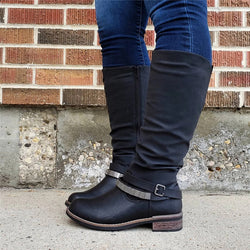 Vintage Side Zipper Belt Trim Boots