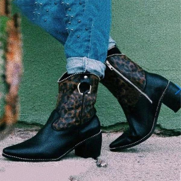 Black Zipper Chunky Heel Pu Casual Boots