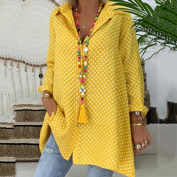 Plus Size Casual Polka Dot Long Sleeve Blouses