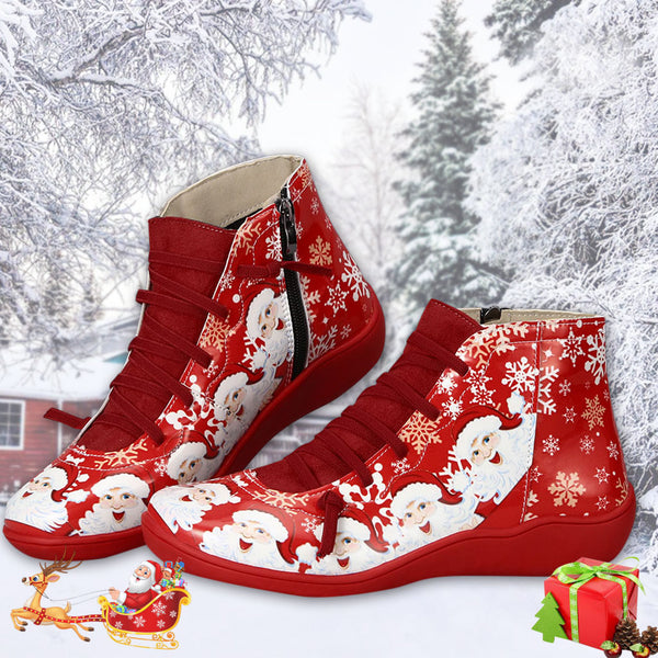 Christmas Flat Heel Round Toe Zipper Party Ankle Boots