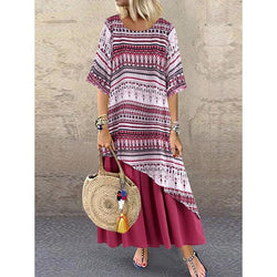 Casual Print Patchwork Double Layer Plus Size Dress