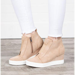 Casual Round Head Wedge Heel Sneakers