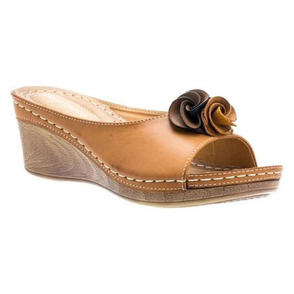 Wedge Heel Flower Peep Toe Slippers