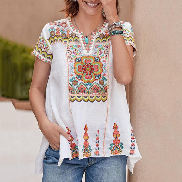 Casual Print V Neck Short Sleeve Shirts & Tops