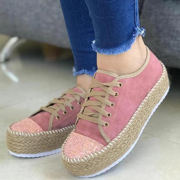 Stitching Thick Bottom Lace-Up Sneakers