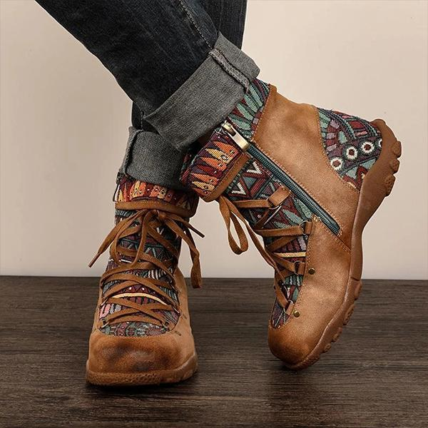 Retro Casual Lace Up Zipper Comfy Flat Boots