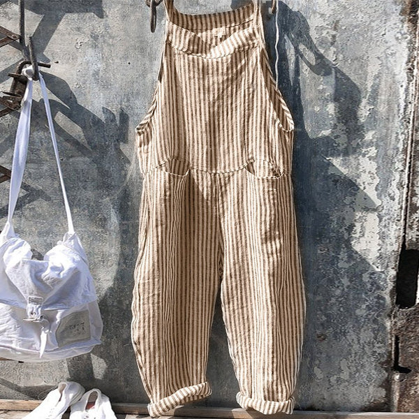 Strap Striped Jumpsuit Wide Leg Pants