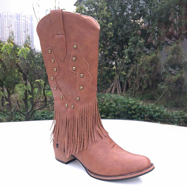 Fashion Tassel High Heel Knee High Boots