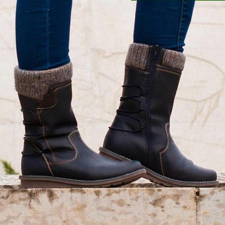 Women Sweater Comfy Back Lace Up Casual Boots