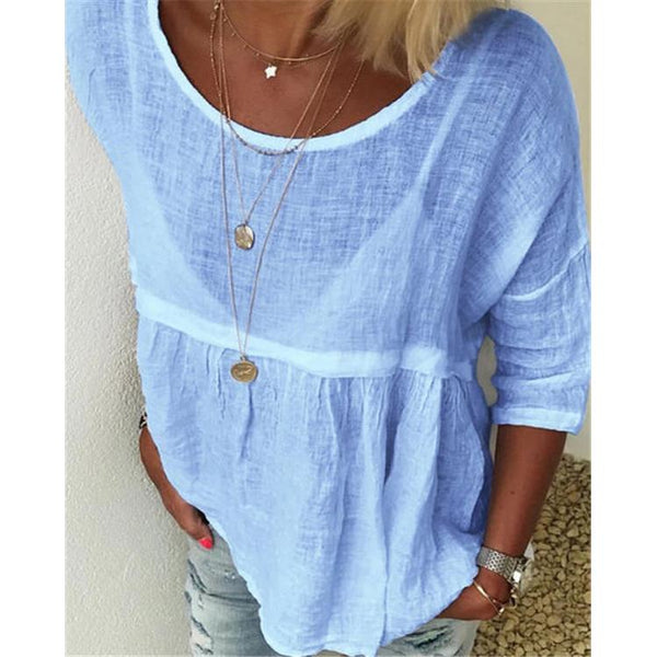 Solid Women Casual Crew Neck Holiday Blouses