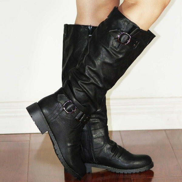 Fashion Buckle Strap Women's Motorcycle Boots