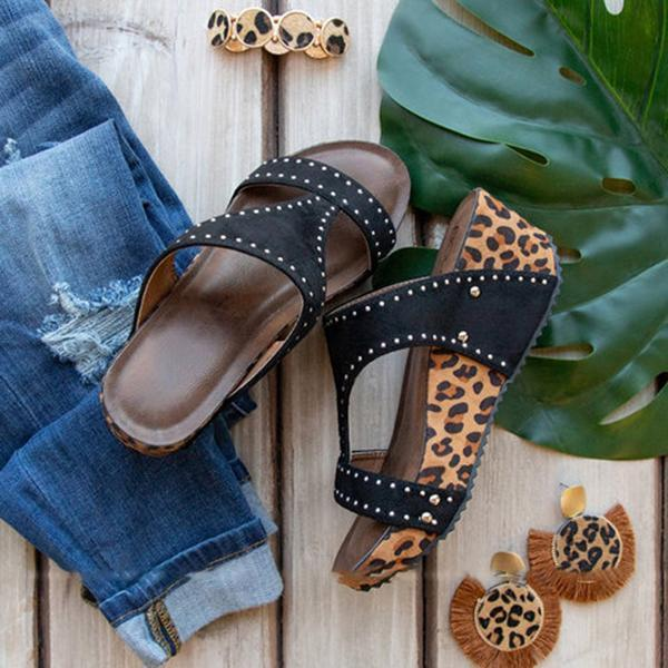 Wedge Leopard Thick Bottom Sandals