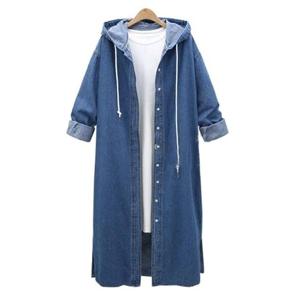 Plus Size Denim Single Breasted Hooded Coats