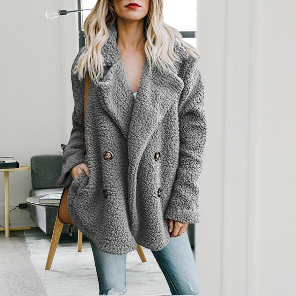 Women's Wide Lapel Buttons Casual Coats