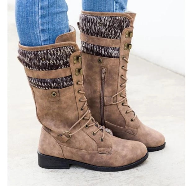 Vintage Lace-up Mid-calf Boots