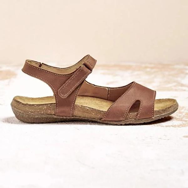Vintage Solid Color Comfy Velcro Sandals