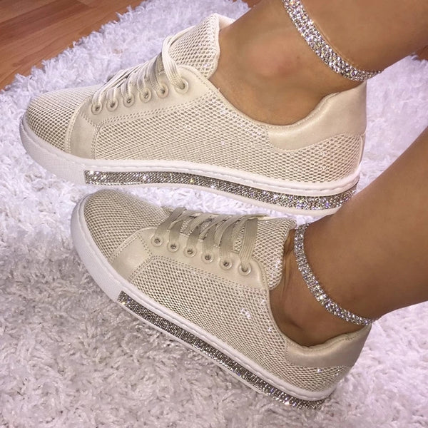 Uellos Women Fashion Solid Color Rhinestone Decorative Mesh Breathable Casual Sneakers