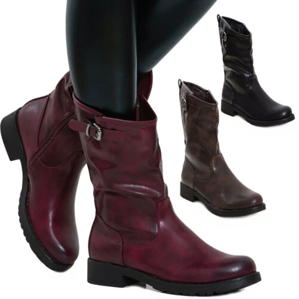 Female Solid Color Low Heel Boots