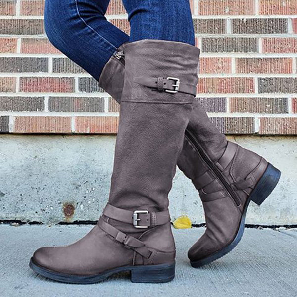 Women Riding Boots Zipper Low Heel Faux Leather Boots