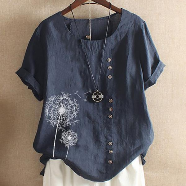 Daily Print Short Sleeve Button Blouse