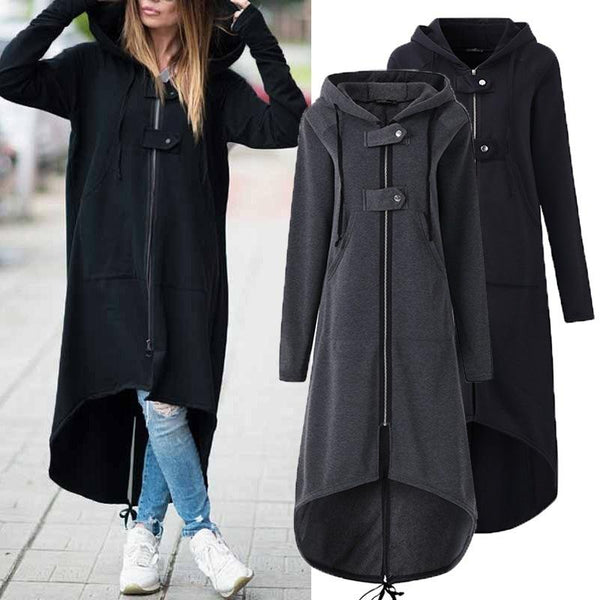 Hooded Zipper Asymmetrisch Long Coats