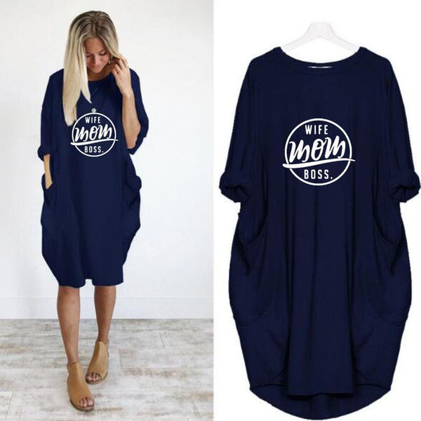 Casual Women Loose Pocket Five-point Sleeve Printing Dress