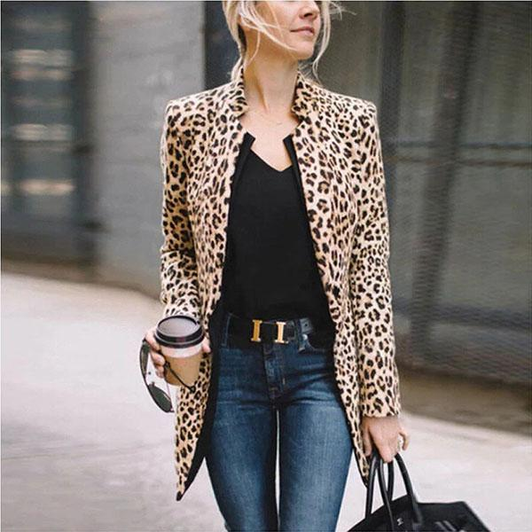 Women Leopard Printed Long Sleeve Coat