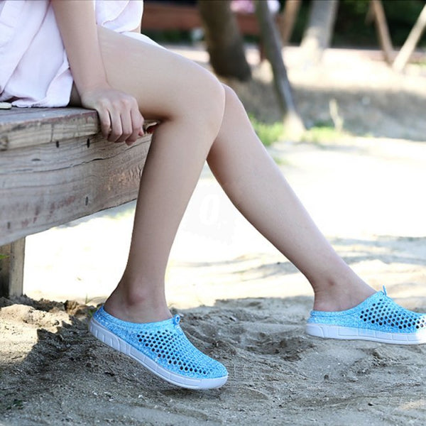 Women Floral Print Slippers Summer Hole Shoes Breathing Beach Slippers